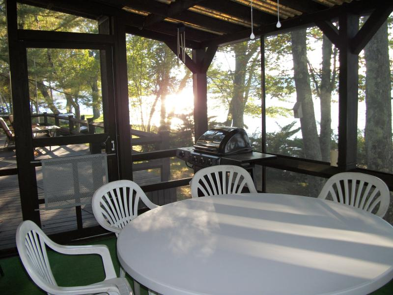 Screened porch has propane grill for cooking memorable meals in any weather.