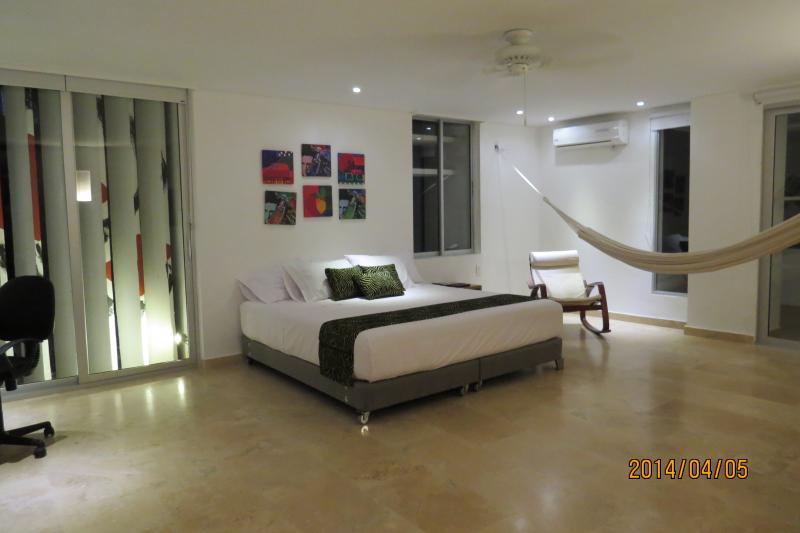 Room 1 with bathroom inside, king size bed, AC, ceiling fan, TV, WIFI, hammock and desk