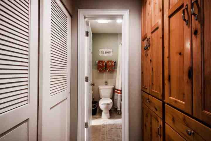 The bathroom is a wrap around and the hallway offers great storage space and closet.