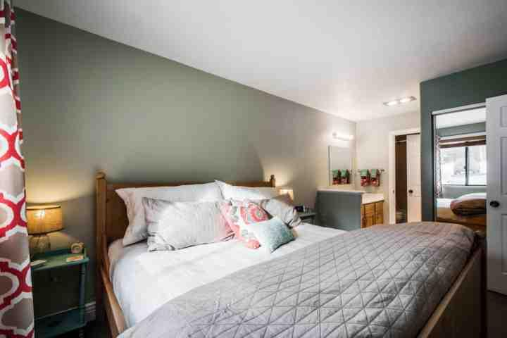 The bedroom also features a large window, which gives you views of the area each morning.