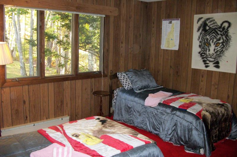 The Tiger bedroom downstairs has two full size twin beds.  All  sleeping areas look out to forest.