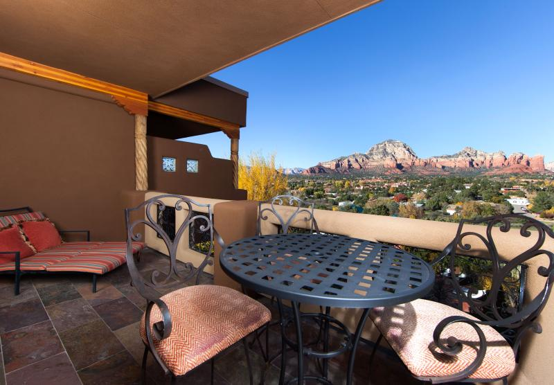 Your Private Balcony has beautiful panoramic red rock views and ample seating for dining & relaxing.
