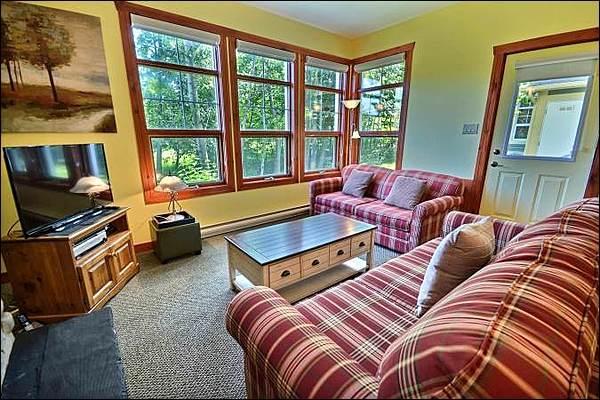 Hermosa sala de estar con TV de pantalla plana