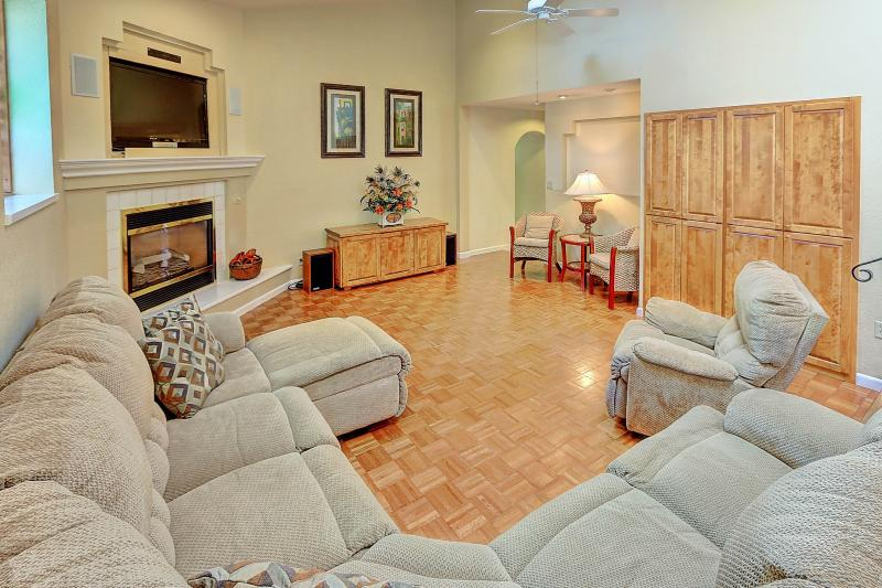 West Coast Villa I Family Room With Flat Screen HD TV, Whole house sound system