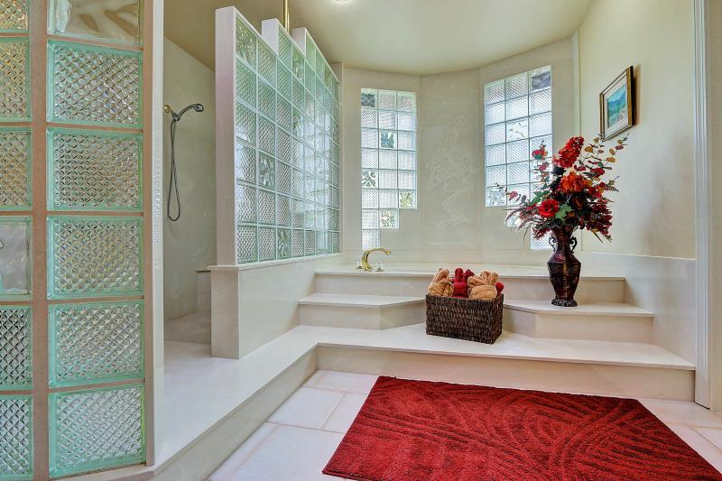 Bright and airy West Coast Villa I Master Bath with glass block windows, skylight, walk in shower