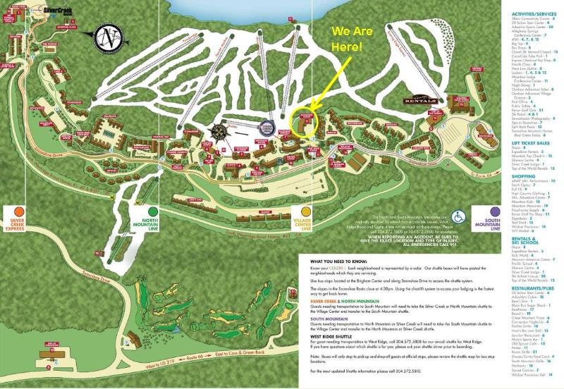 Welcome to Snowshoe! Note that Mountain Lodge is centrally located - right next to the action!