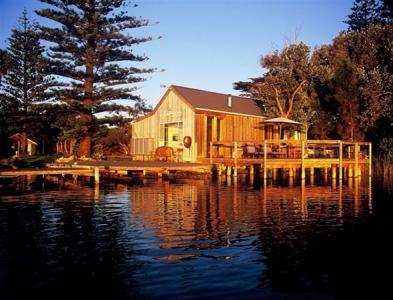 Unique waterfront Boathouse Retreat overlooking the Murray River at the historic River Port Goolwa