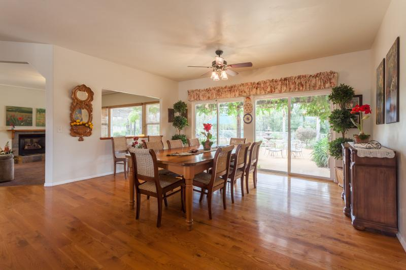 Large walnut table seats 10-12  large kitchen for family gatherings