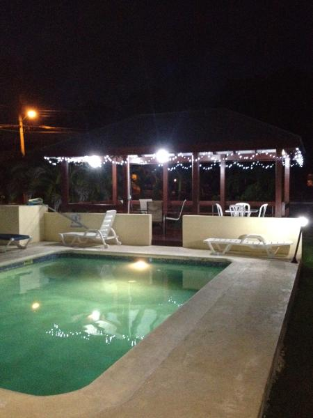 View of the pool and our gazebo by night
