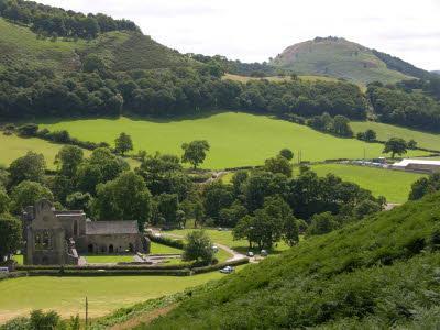 Valle Crucis Abbey and Dinas Bran castle from Velvet Hill (behind Velvet Cottage)
