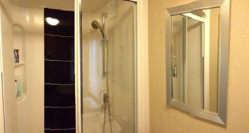 Bagno principale con doccia full-size e portasciugamani riscaldato.