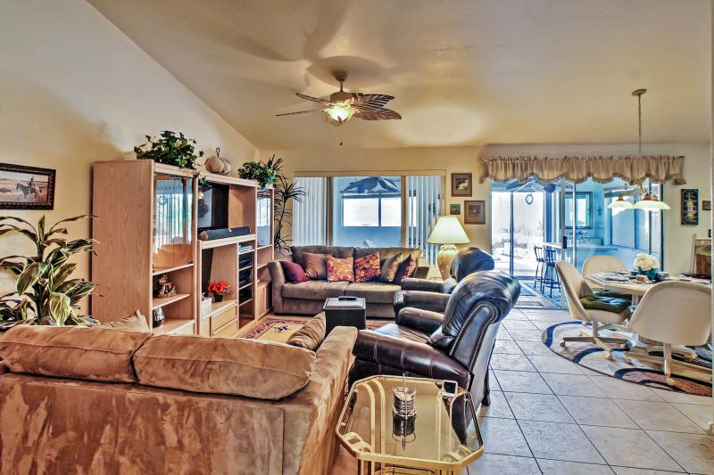 You'll have ample room to spread out and unwind throughout the spacious, airy interior.