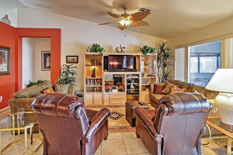 Kick back in the inviting living room and watch your programming of choice on the flat-screen cable TV.