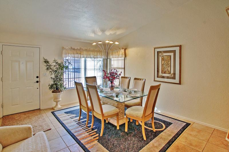 Every meal feels like a special occasion in this elegant dining room.