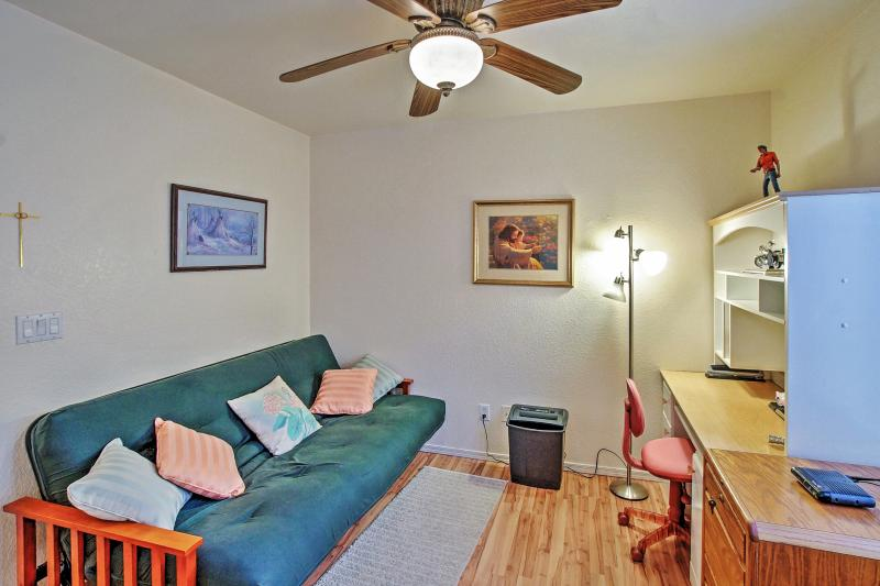The third bedroom offers a comfortable futon bed.