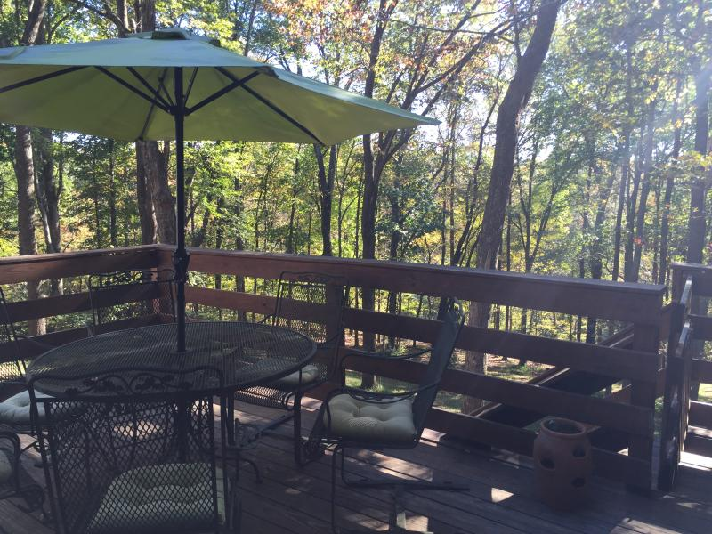The deck view of several acres is amazing, walk down and enjoy the peaceful bench in the yard