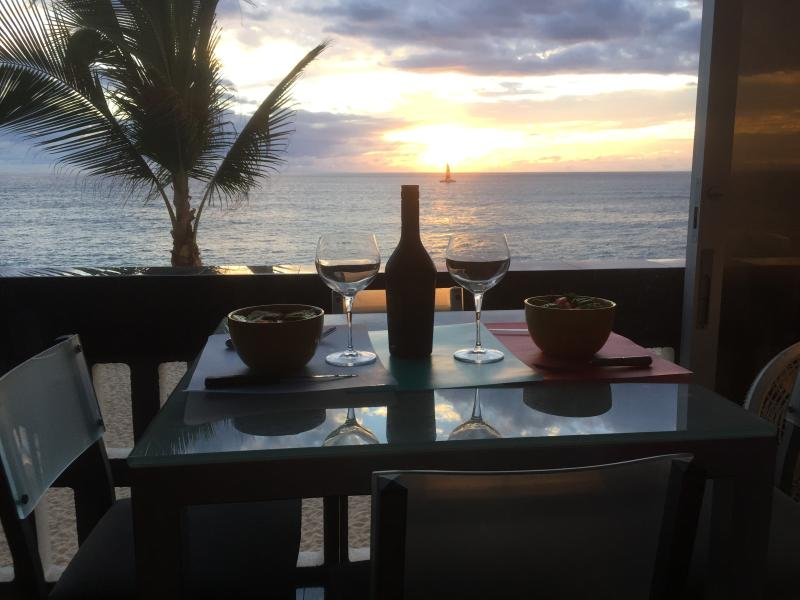 Our 'watching turtles' table at the lanai