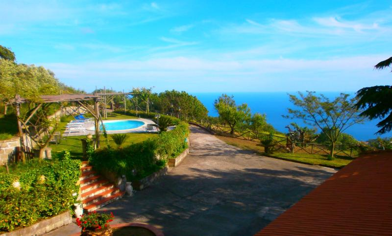 Sweeping views over the Mediterranean, rolling gardens & private pool, as seen from upstairs