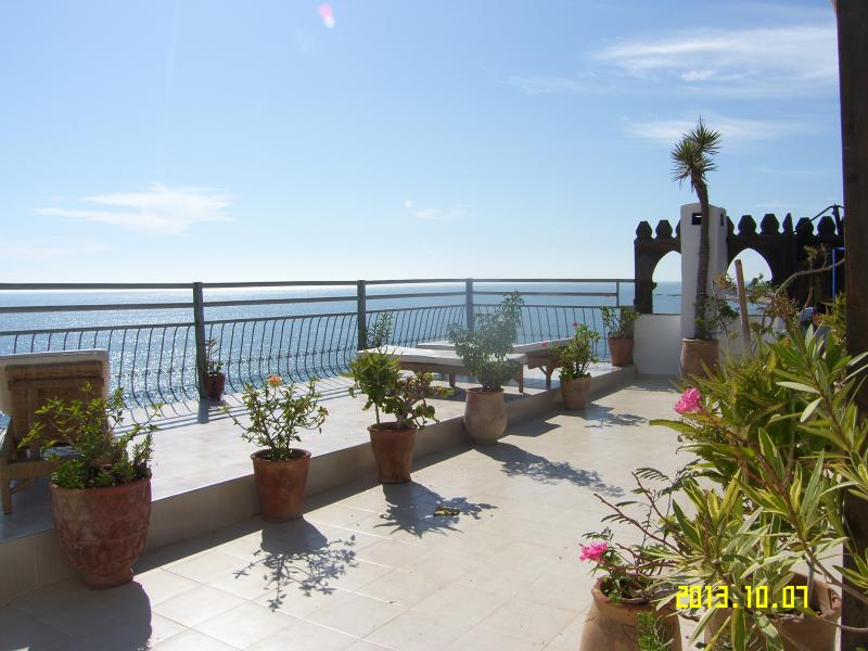 Nice view of Taghazout from the huge terrace.