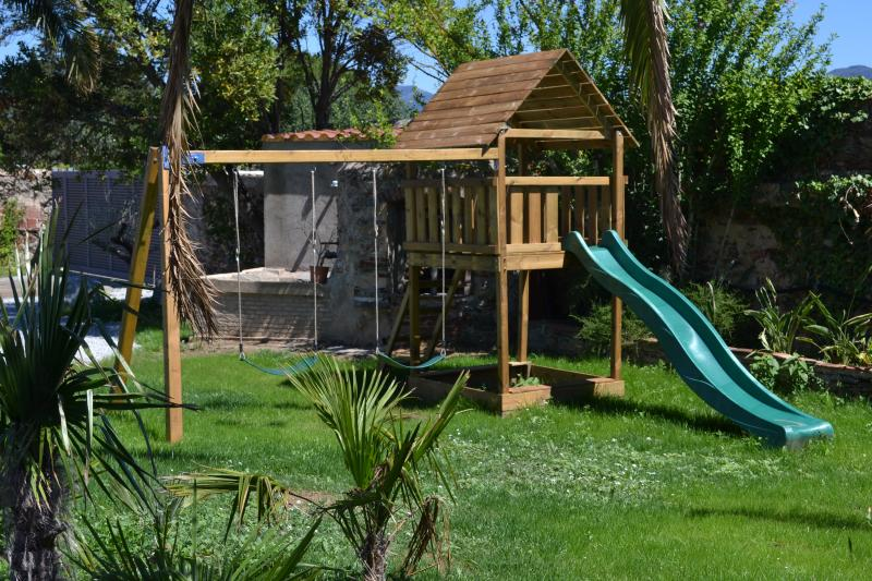 play ground with slide and swings