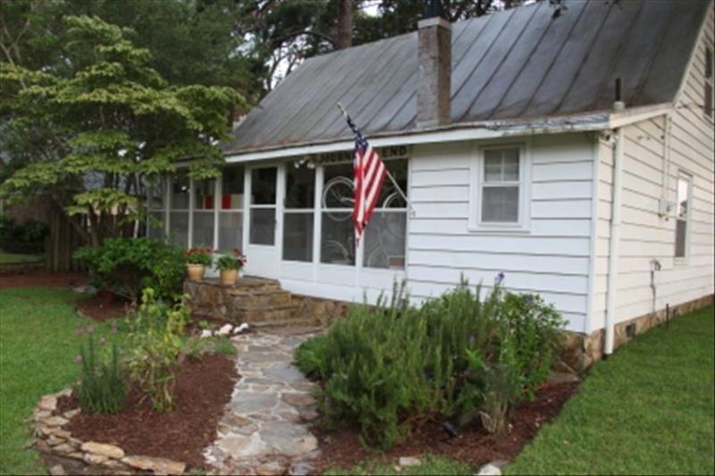 Welcoming stone path leads to Journey's End Cottage w/herb garden