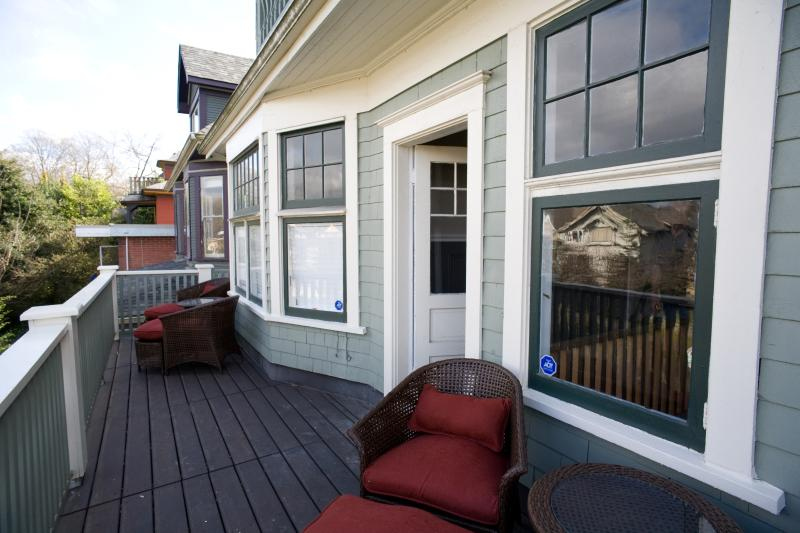 Ivy Room has private area on the second floor balcony reserved for Ivy Room guests only.