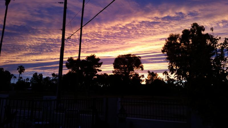 Sonnenuntergang vom Hinterhof.