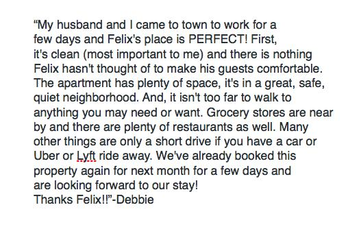 A review from a recent guest...