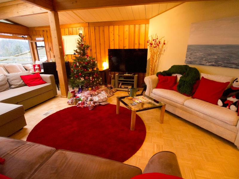 Our Living Room at Christmastime with current couch/beds and 60' Cinema TV