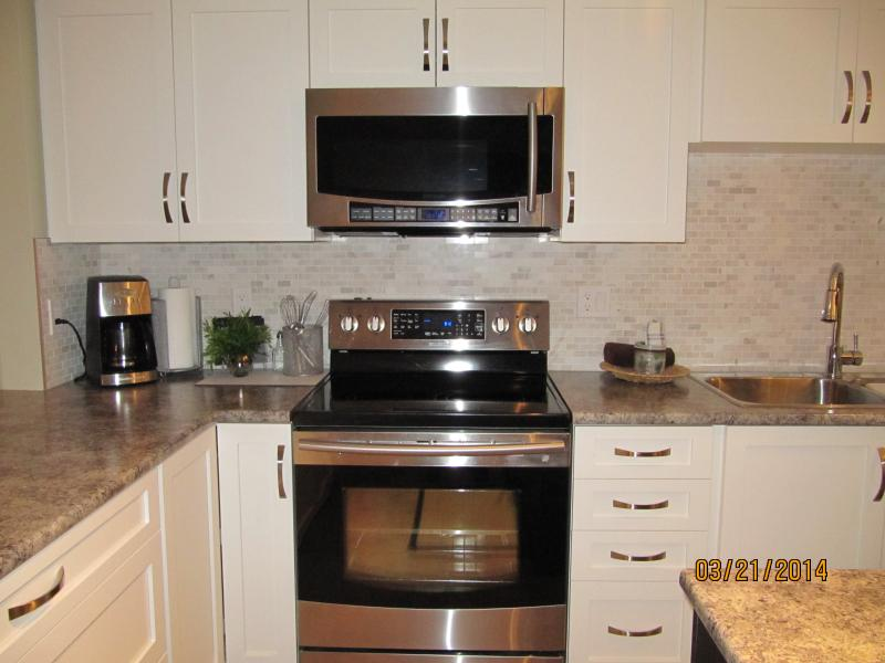 Double oven and microwave; large fridge with ice maker and double doors