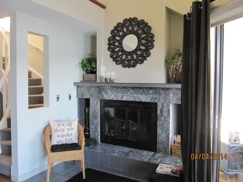 Wood burning fireplace - paper, kindling, wood and lighter provided