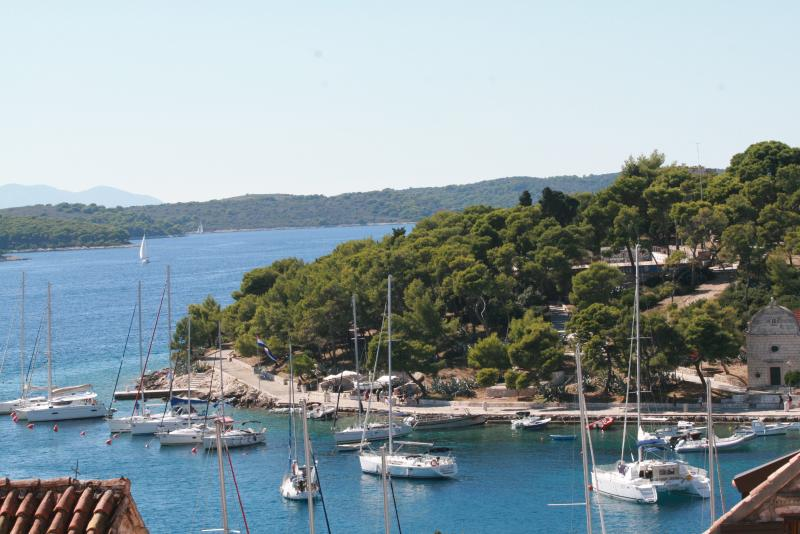 View from the room to the port of Hvar city.