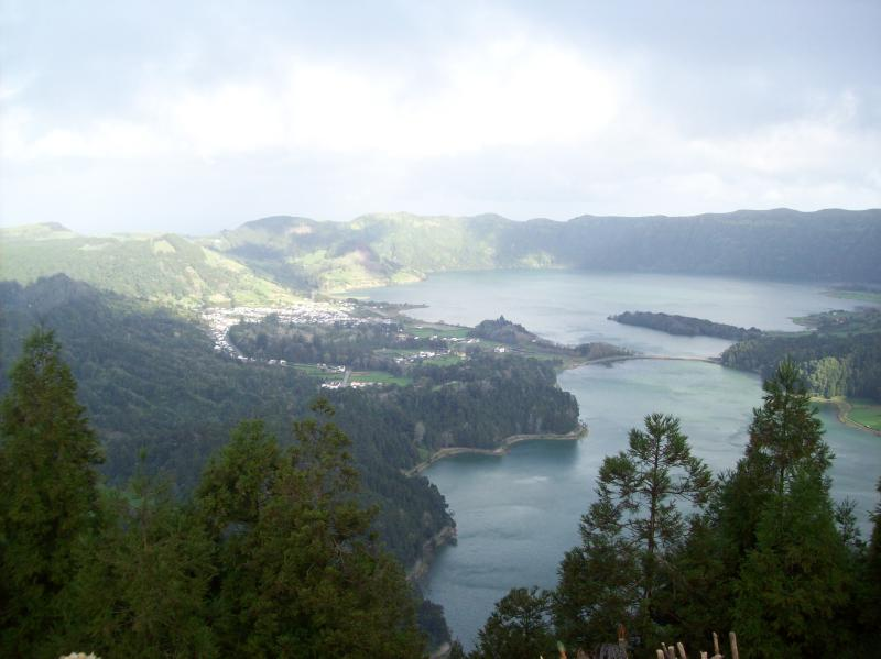 Lake of sete cidades , a volcanic crater with several lakes surrounding