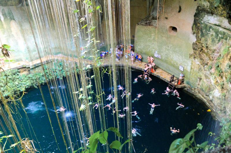 Cenotes with crystal clear, fresh water