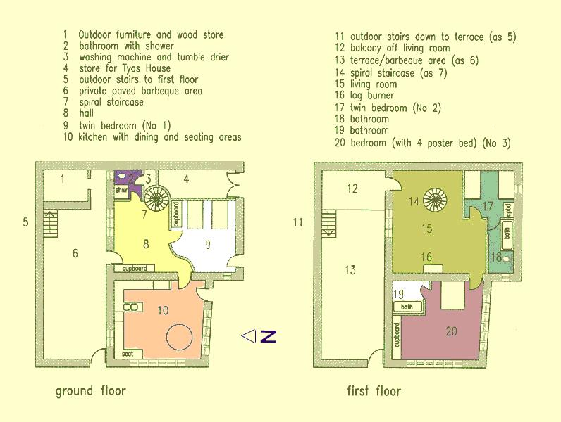Floor plan, note conventional external staircase (most useful for taking big suitcases upstairs)
