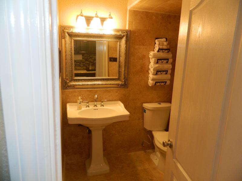 Another view of the elegant bathroom entry.