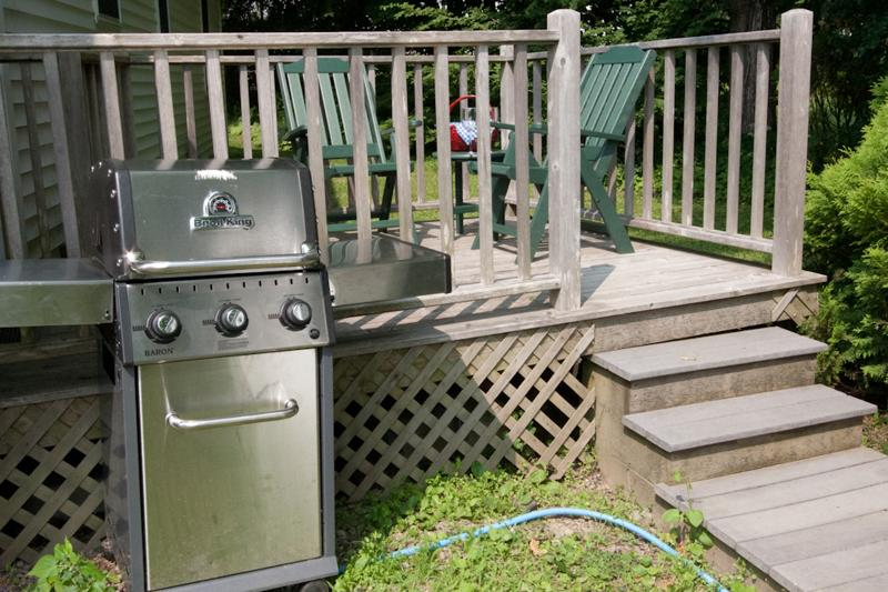 Private rear deck. Perfect for morning coffee and evening wine. Grill for cookouts.