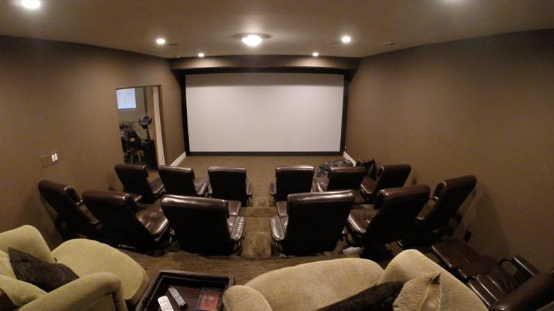 Here is the 16-seat home theater with 20-foot screen!