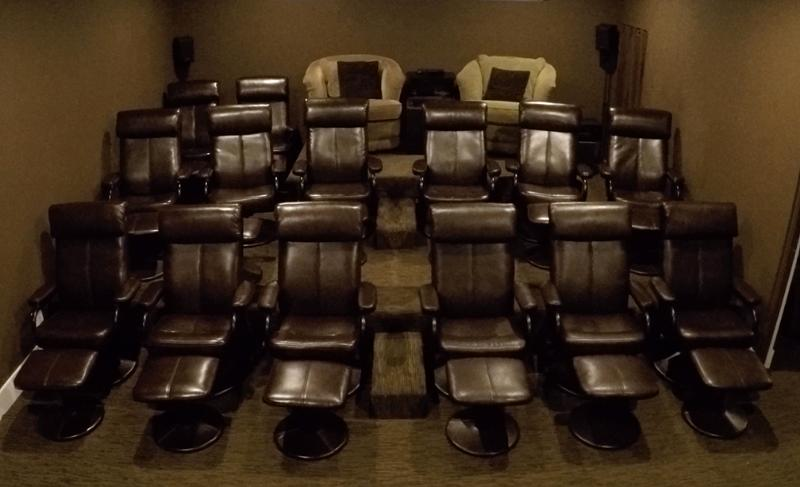 Here is the 16-seat home theater with terraced seating.