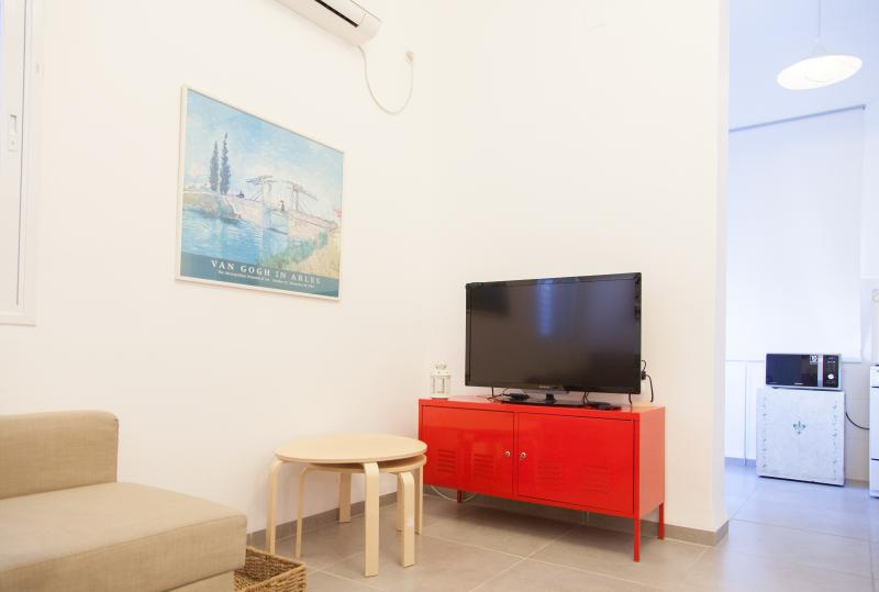 The living room (t.v and entrance to the kitchen)