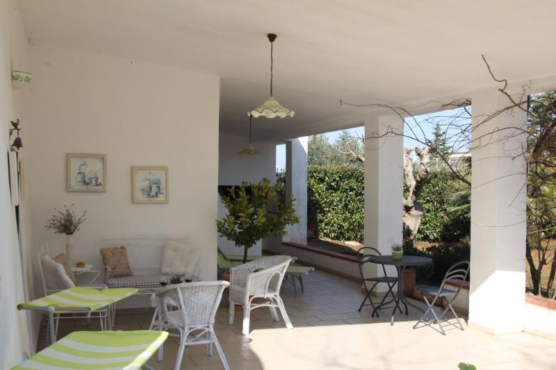 On the veranda you will also find outdoor sofa and chairs.  Great for reading a book.