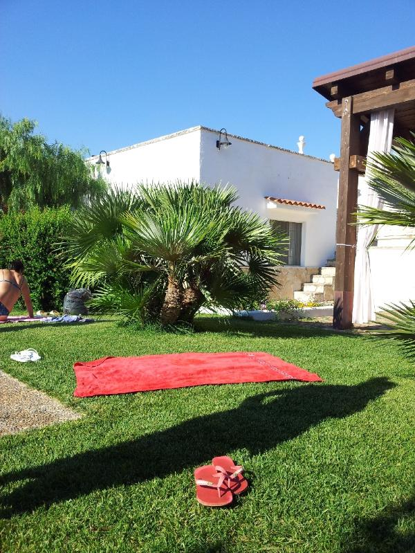 Why not stretch out and relax on the grass. Nearby you can pick the cherries and figs from the trees