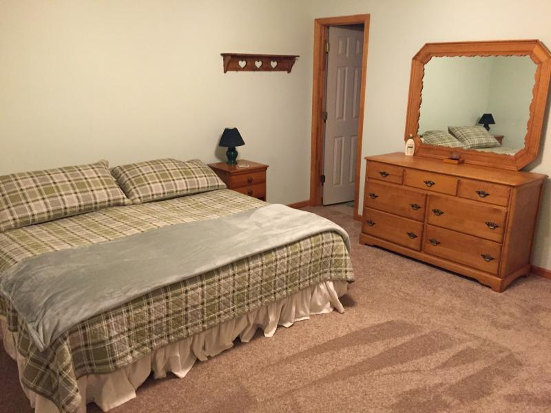Master bedroom with king size bed, walk in closet and attached master bath.