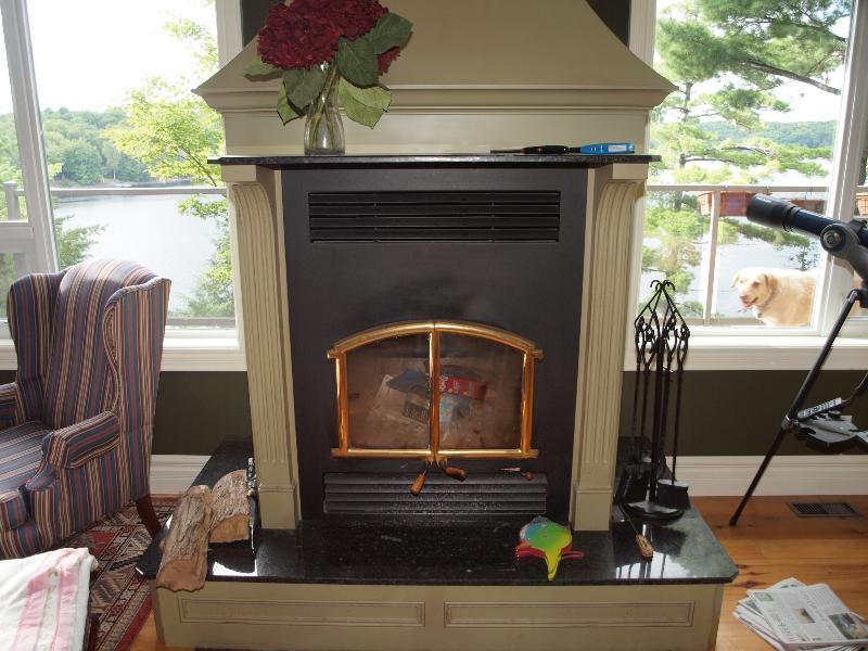 Living room wood fireplace.