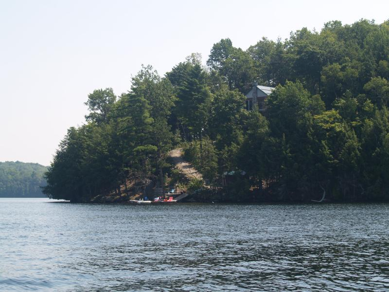 Summer view of the cottage from the lake.