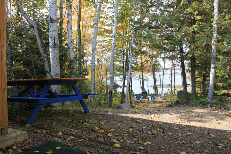 Picnic spot and outdoor fireplace on the lake.