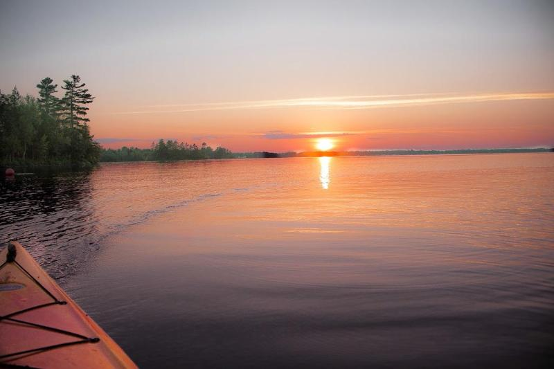 Canoe trip in the sunset.