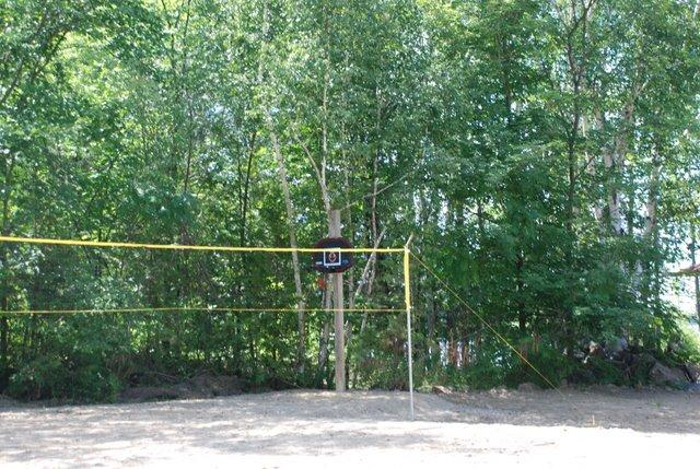 Volleyball court and basketball ring.