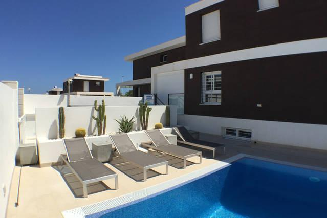 Poolside loungebeds overlooking private 10 m x 5 m private pool