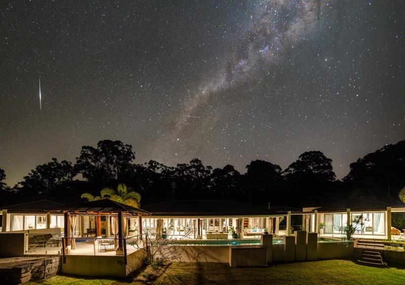 Alaya Verde under the Milky Way - in this photo not all the rooms are visible